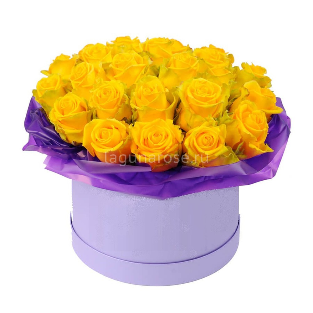 букет из желтых роз фото в коробке сколько